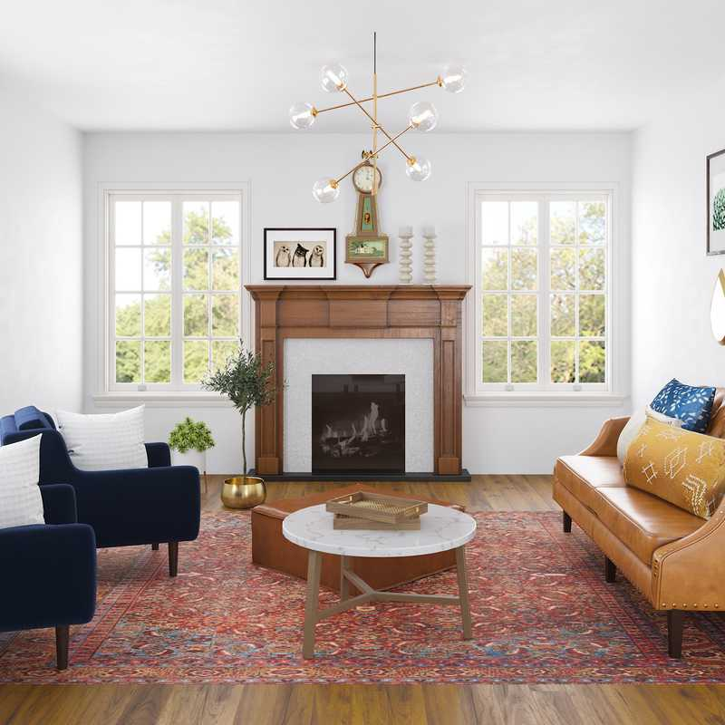Eclectic, Global, Midcentury Modern Living Room Design by Havenly Interior Designer Kristell