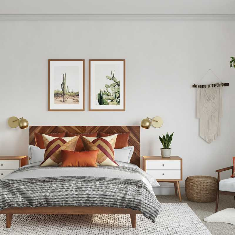 Bohemian, Southwest Inspired, Midcentury Modern Bedroom Design by Havenly Interior Designer Britney