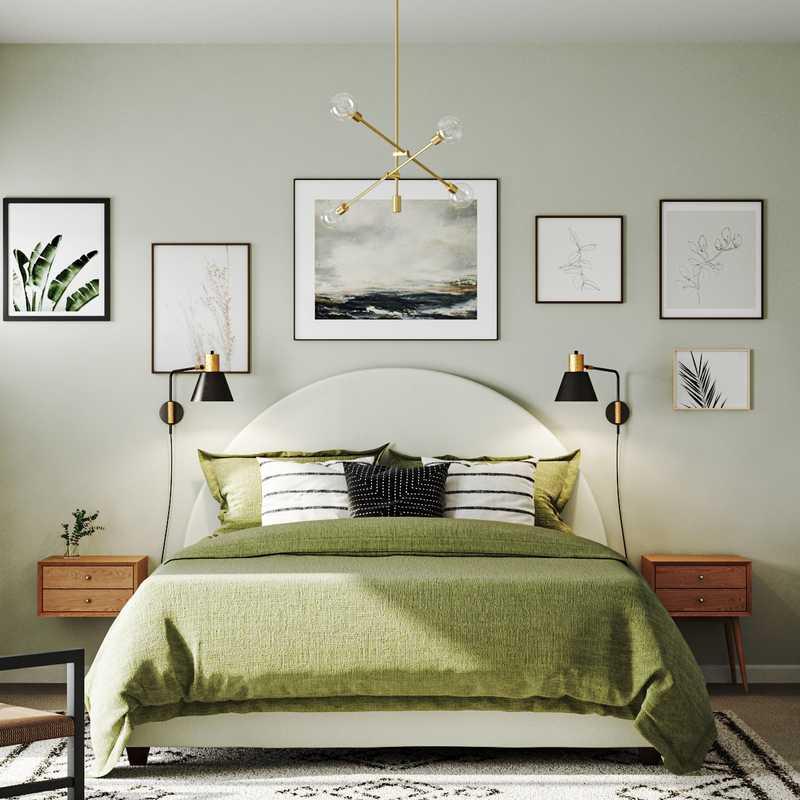 Bohemian, Midcentury Modern, Scandinavian Bedroom Design by Havenly Interior Designer Delia