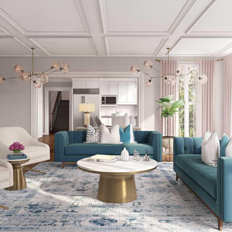 Modern, Glam, Preppy Living Room Design by Havenly Interior Designer Hagar