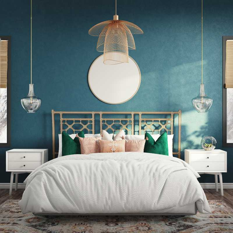 Bohemian, Southwest Inspired, Midcentury Modern Bedroom Design by Havenly Interior Designer Katie