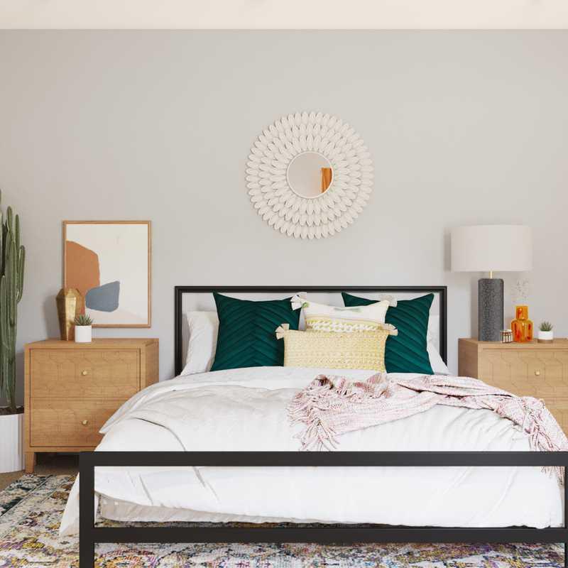 Eclectic, Bohemian, Glam, Global, Midcentury Modern Bedroom Design by Havenly Interior Designer Taelor