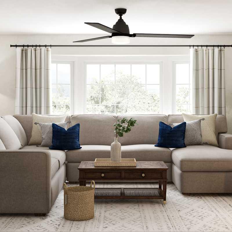 Coastal, Transitional Living Room Design by Havenly Interior Designer Laura