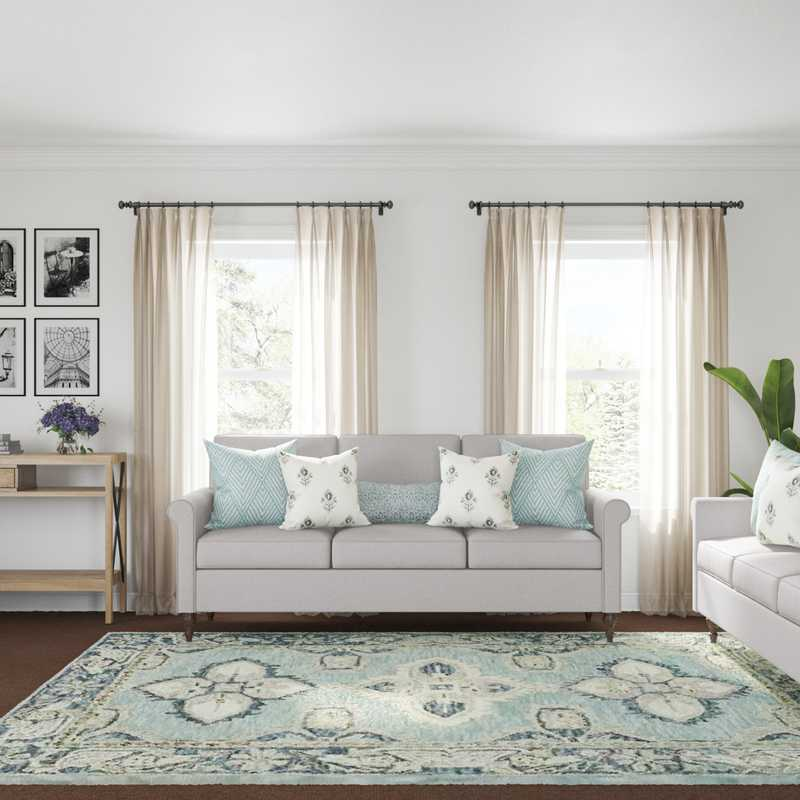 Contemporary, Traditional, Farmhouse Living Room Design by Havenly Interior Designer Kaelyn