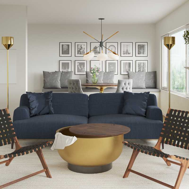 Modern, Glam, Farmhouse Living Room Design by Havenly Interior Designer Drew