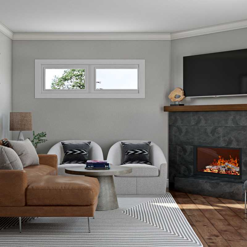 Modern, Midcentury Modern Living Room Design by Havenly Interior Designer Brooke