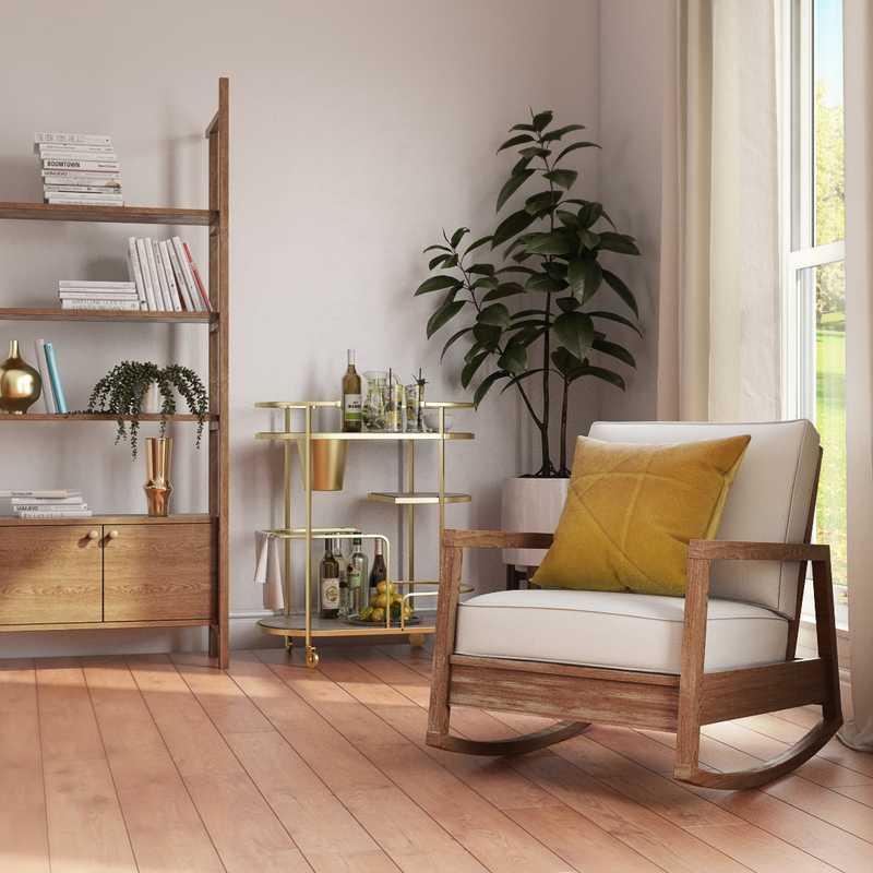 Bohemian, Midcentury Modern Living Room Design by Havenly Interior Designer Rocio