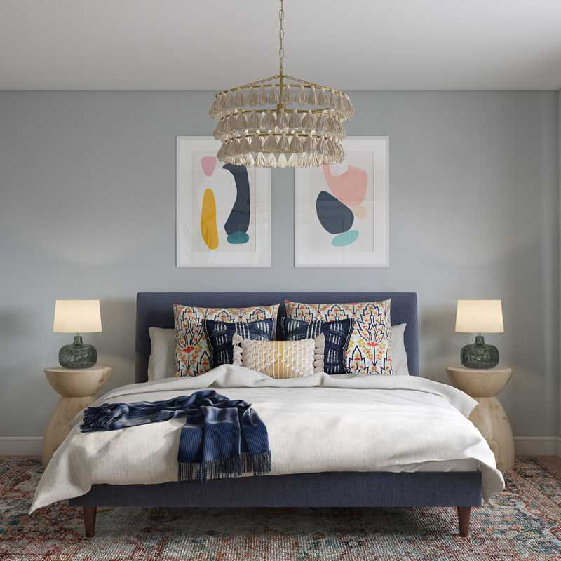 Eclectic, Bohemian, Global, Midcentury Modern, Scandinavian Bedroom Design by Havenly Interior Designer Rachel