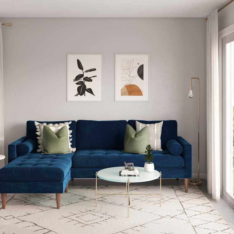 Bohemian, Midcentury Modern Living Room Design by Havenly Interior Designer Chelsea