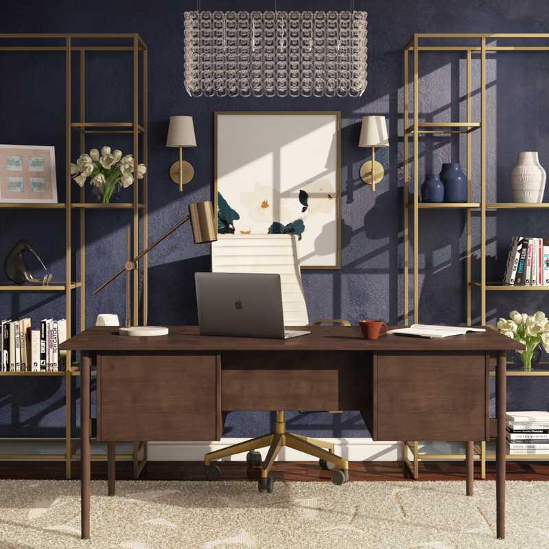 Glam, Midcentury Modern Office Design by Havenly Interior Designer Karen