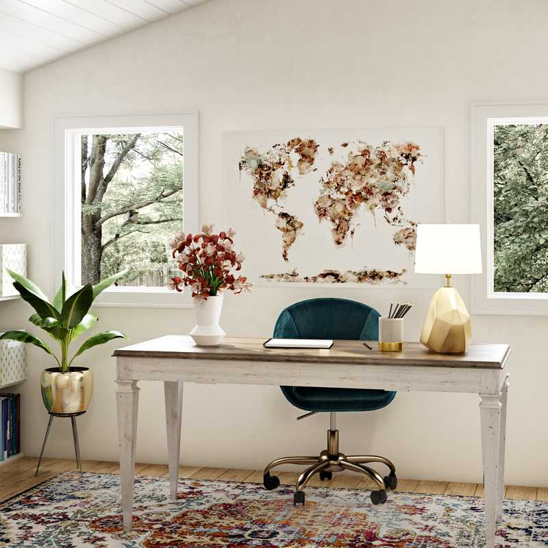 Bohemian, Midcentury Modern Office Design by Havenly Interior Designer Megan