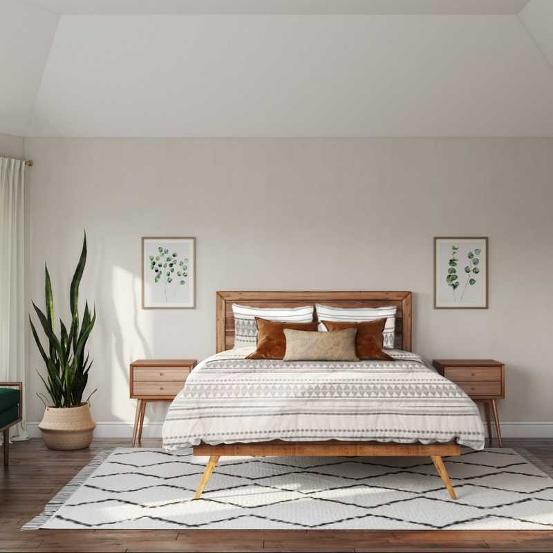 Midcentury Modern, Scandinavian Bedroom Design by Havenly Interior Designer Kyla