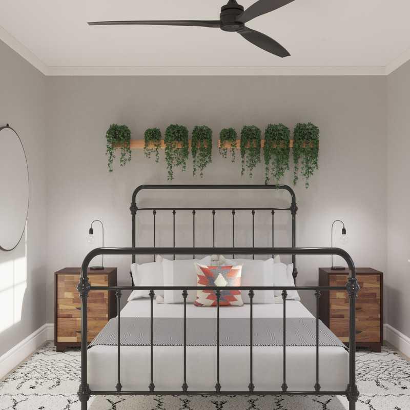 Bohemian, Industrial, Midcentury Modern Bedroom Design by Havenly Interior Designer Sharon