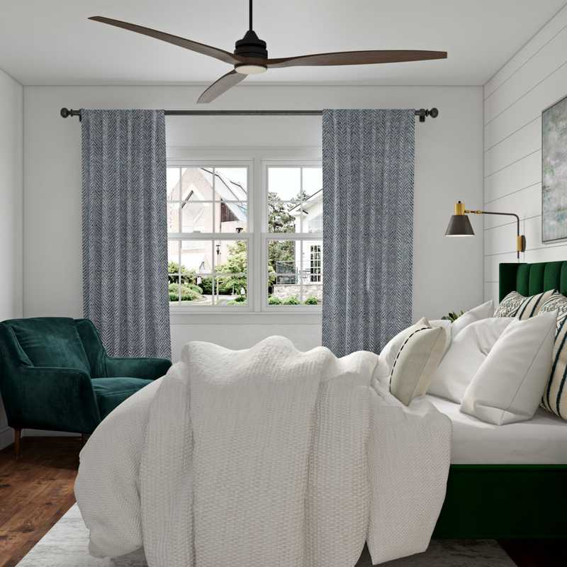 Bohemian, Midcentury Modern Bedroom Design by Havenly Interior Designer Carly