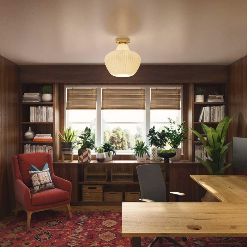 Bohemian, Midcentury Modern Office Design by Havenly Interior Designer Dani