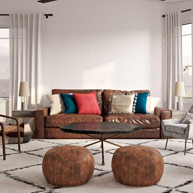 Bohemian, Midcentury Modern Living Room Design by Havenly Interior Designer Rebecca