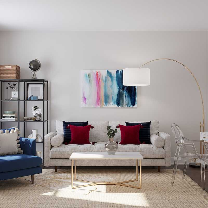 Contemporary, Modern, Glam Living Room Design by Havenly Interior Designer Randi