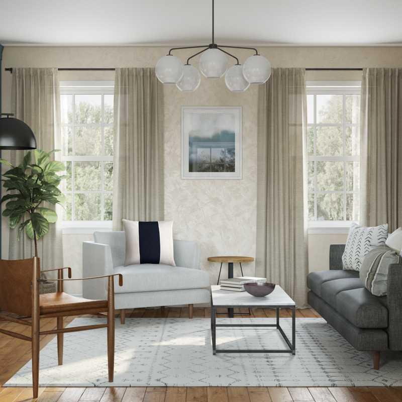 Contemporary, Modern, Vintage, Preppy Living Room Design by Havenly Interior Designer Drew