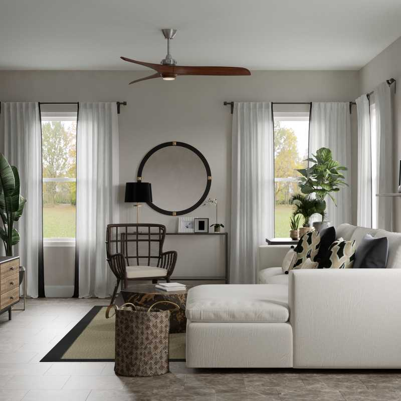 Contemporary, Modern, Bohemian, Transitional, Midcentury Modern Living Room Design by Havenly Interior Designer Jade