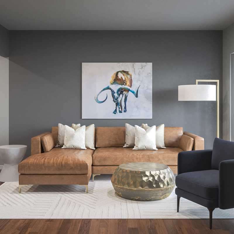 Modern, Glam, Midcentury Modern Living Room Design by Havenly Interior Designer Maria