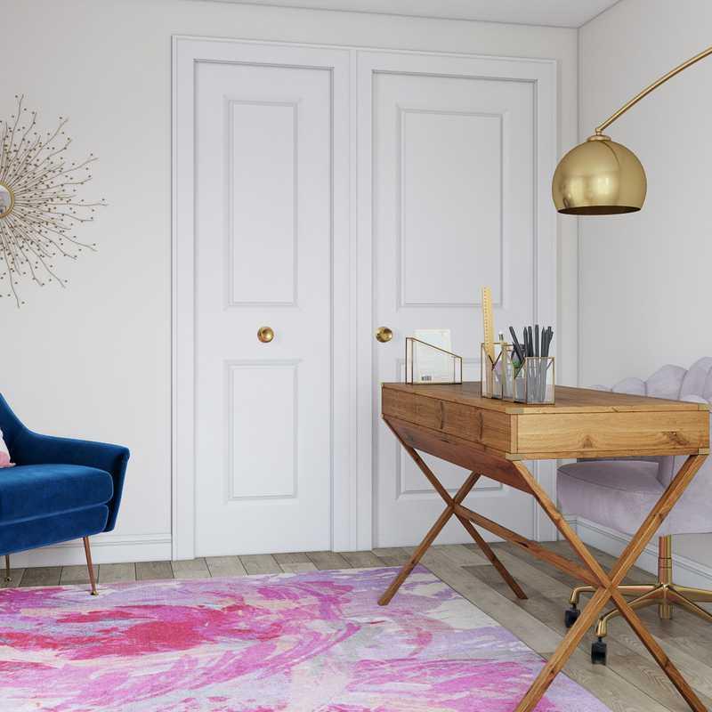 Glam, Midcentury Modern Office Design by Havenly Interior Designer Sarah