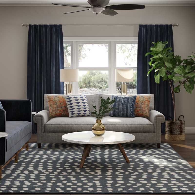 Eclectic, Bohemian, Glam Living Room Design by Havenly Interior Designer Erin