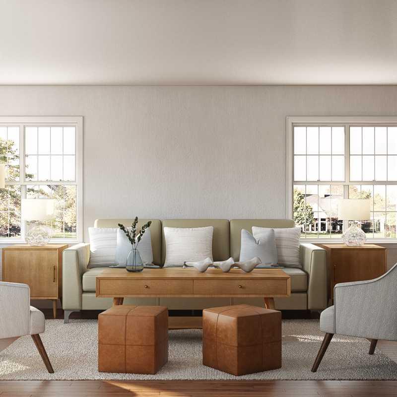 Contemporary, Bohemian, Coastal, Farmhouse Living Room Design by Havenly Interior Designer Ghianella