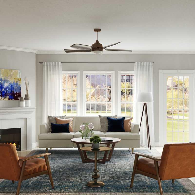Coastal, Midcentury Modern Living Room Design by Havenly Interior Designer Fendy