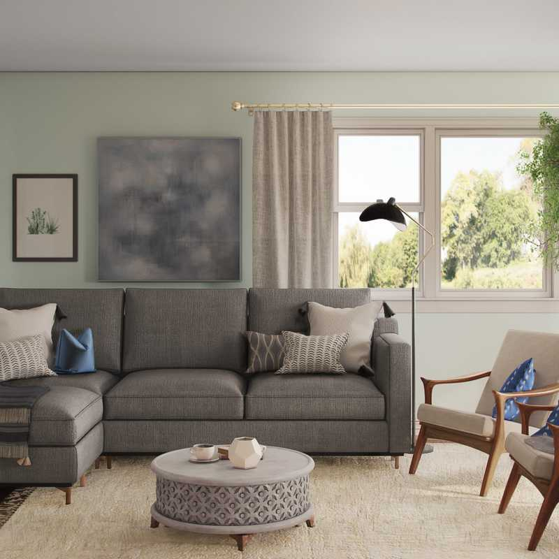 Eclectic, Bohemian, Midcentury Modern Living Room Design by Havenly Interior Designer Chelsea