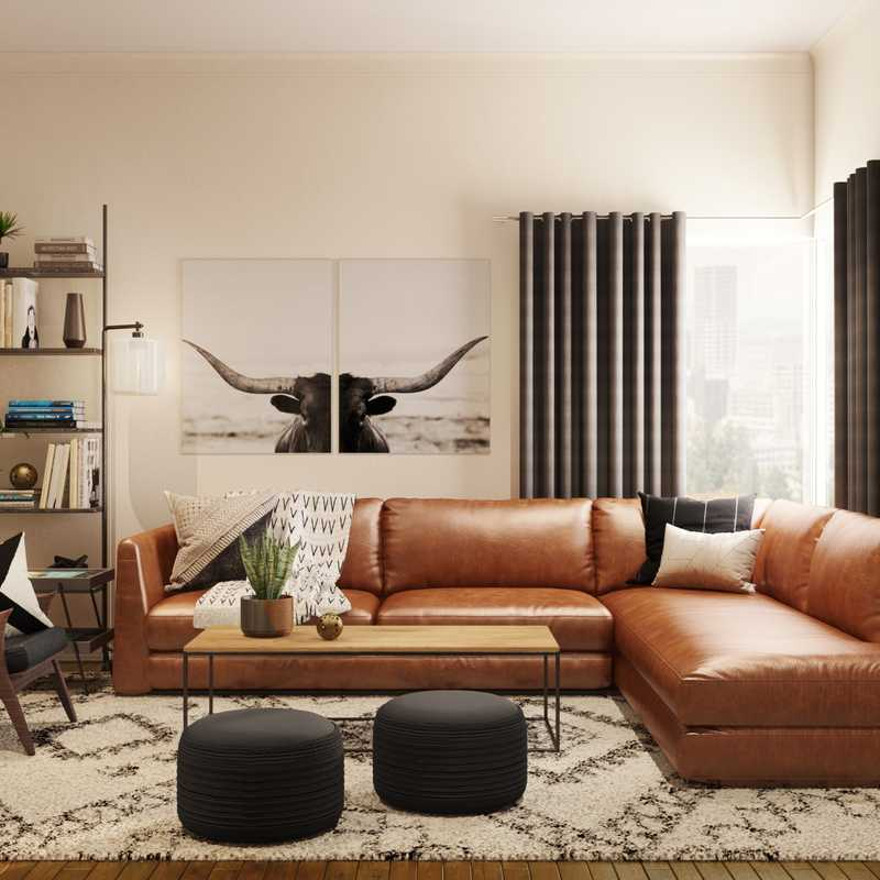 Modern, Industrial, Rustic, Midcentury Modern, Minimal, Scandinavian Living Room Design by Havenly Interior Designer Brit