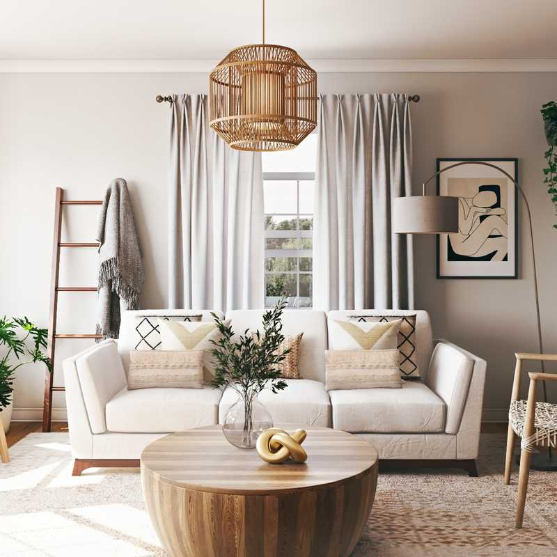 Bohemian, Farmhouse, Rustic, Transitional Living Room Design by Havenly Interior Designer Sarah