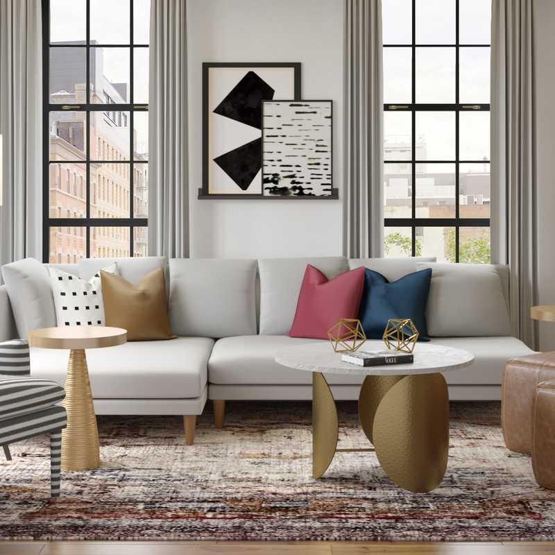 Contemporary, Glam, Midcentury Modern, Preppy Living Room Design by Havenly Interior Designer Ghianella