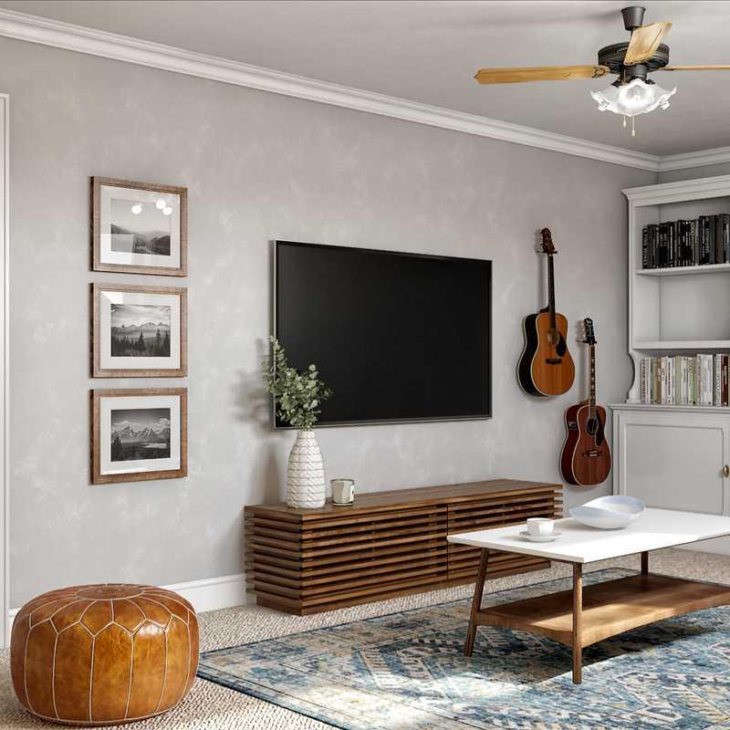 Midcentury Modern, Minimal Living Room Design by Havenly Interior Designer Janice