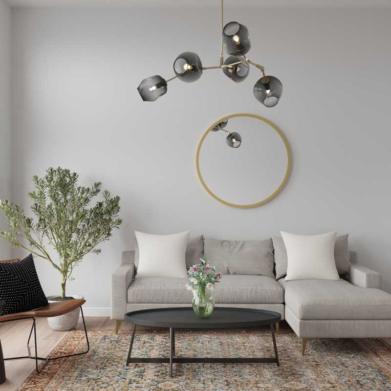 Modern, Bohemian, Minimal Living Room Design by Havenly Interior Designer Chelsea