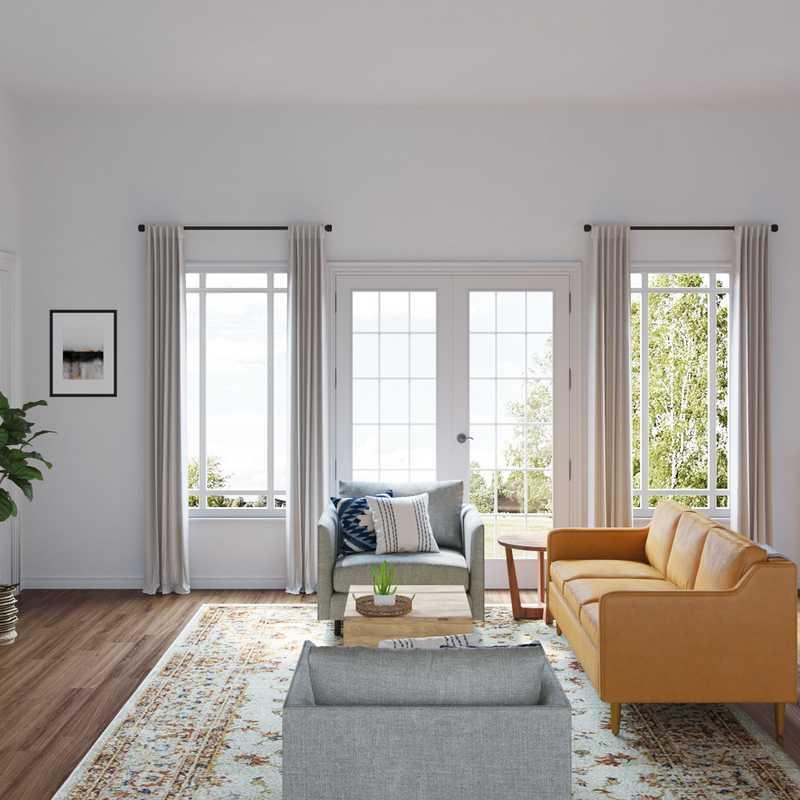Contemporary, Farmhouse Living Room Design by Havenly Interior Designer Julie