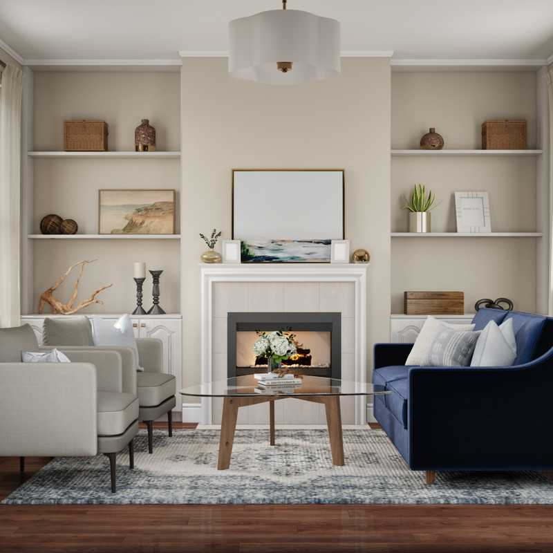 Coastal, Farmhouse Living Room Design by Havenly Interior Designer Kacey