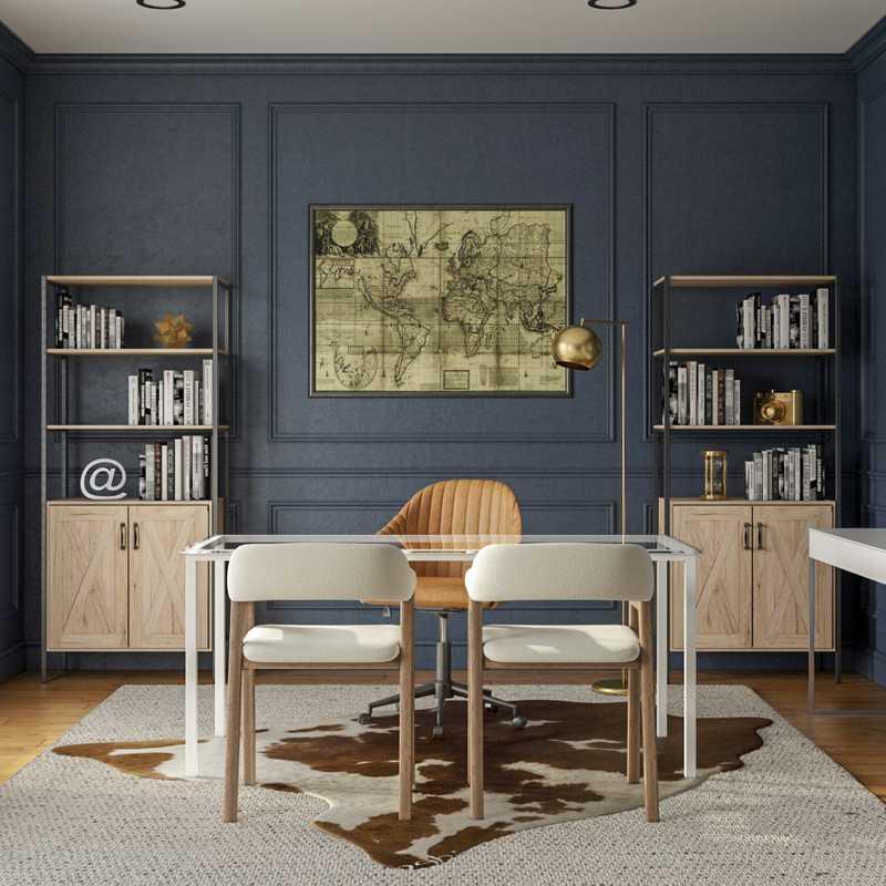 Modern, Glam, Industrial Office Design by Havenly Interior Designer Chanel
