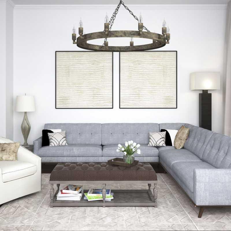 Contemporary, Classic, Rustic Living Room Design by Havenly Interior Designer Stephanie
