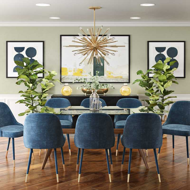 Modern, Eclectic, Bohemian, Glam, Global Dining Room Design by Havenly Interior Designer Danielle