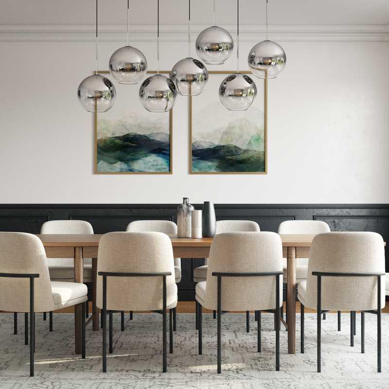 Modern, Glam, Minimal, Scandinavian Dining Room Design by Havenly Interior Designer Madison