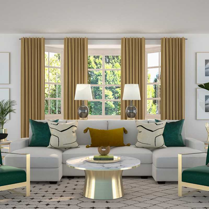 Contemporary, Glam, Preppy Living Room Design by Havenly Interior Designer Kamila