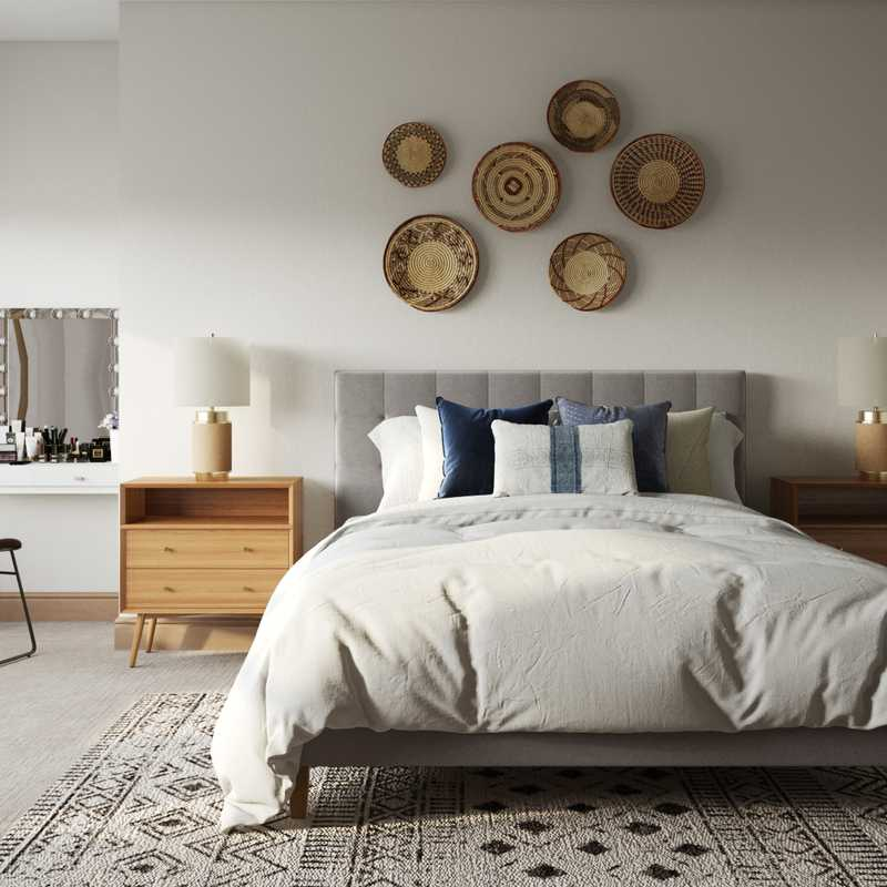 Bohemian, Coastal, Southwest Inspired Bedroom Design by Havenly Interior Designer Brit