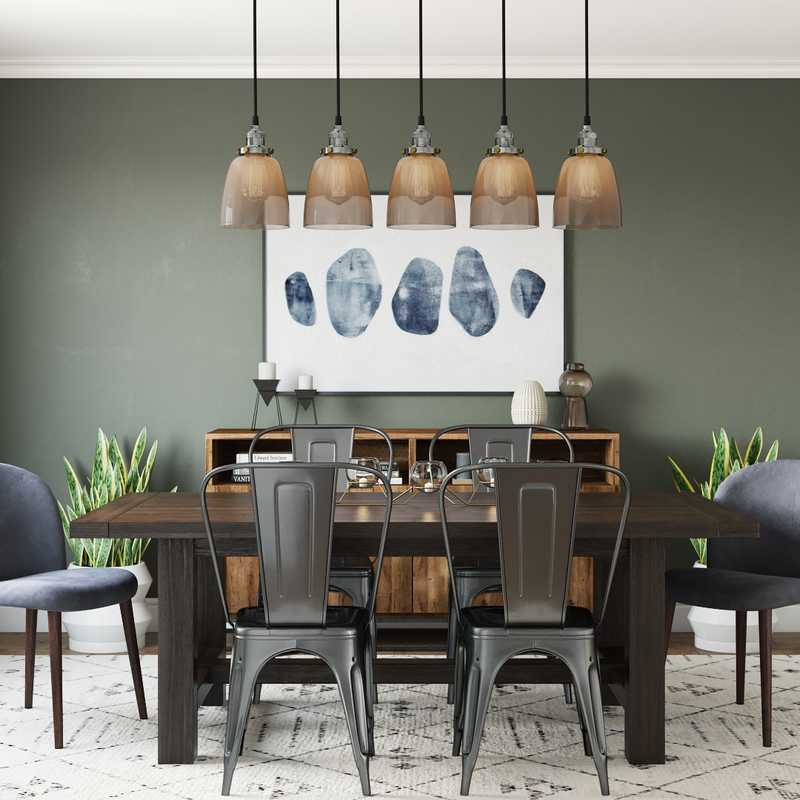Eclectic, Bohemian, Midcentury Modern Dining Room Design by Havenly Interior Designer Rocio