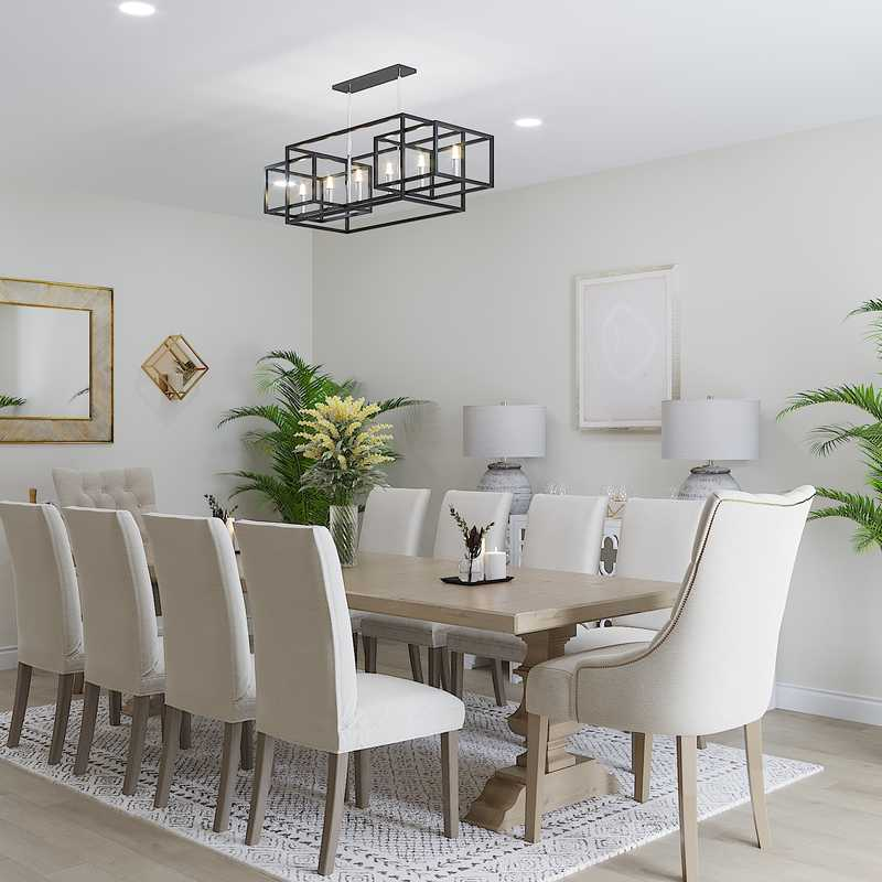 Coastal, Transitional Dining Room Design by Havenly Interior Designer Merna