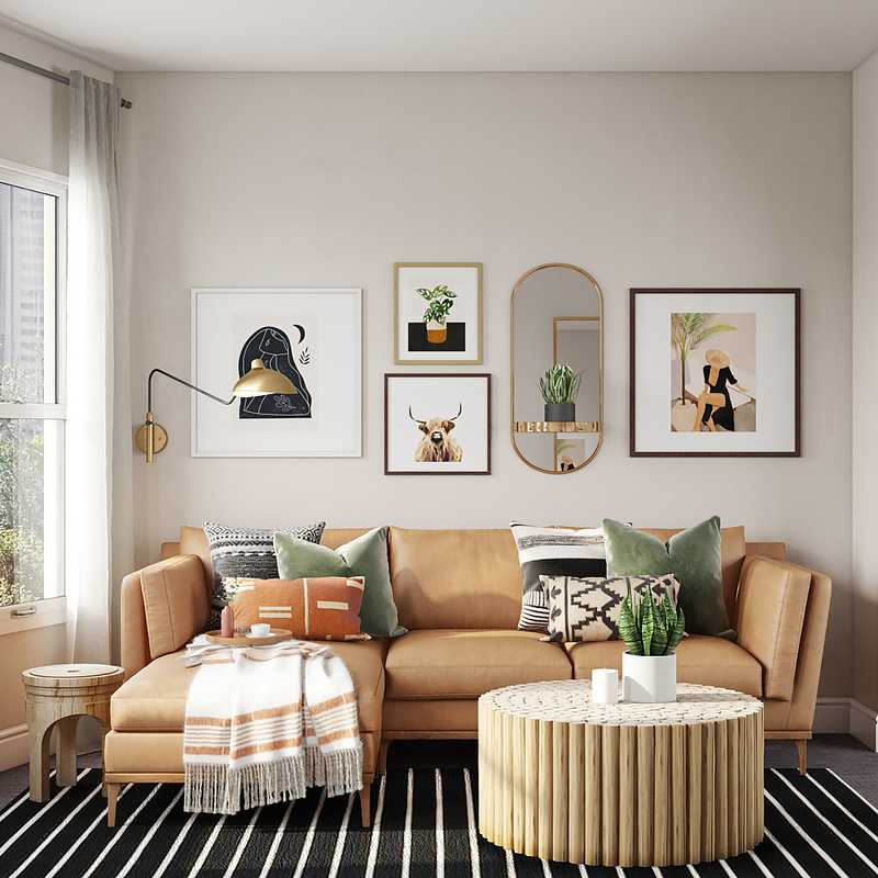 Bohemian, Midcentury Modern, Scandinavian Living Room Design by Havenly Interior Designer Shelly