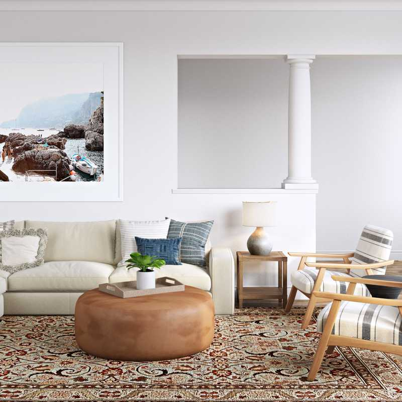 Modern, Bohemian, Coastal, Transitional Living Room Design by Havenly Interior Designer Natalie