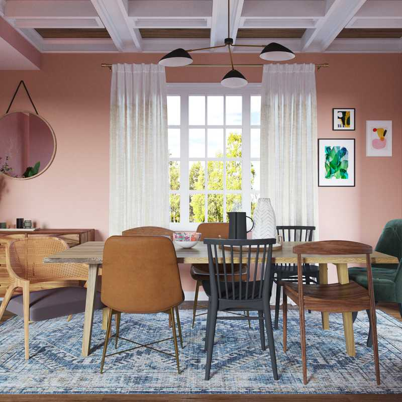 Bohemian, Global, Midcentury Modern Dining Room Design by Havenly Interior Designer Alexandra