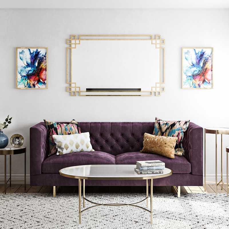 Modern, Glam Living Room Design by Havenly Interior Designer Deeksha