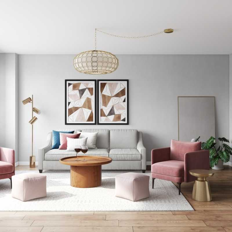Bohemian, Glam, Scandinavian Living Room Design by Havenly Interior Designer Emelia