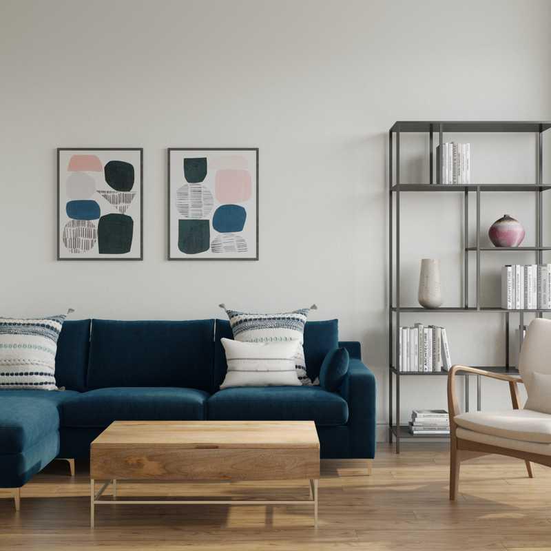 Bohemian, Scandinavian Living Room Design by Havenly Interior Designer Rocio